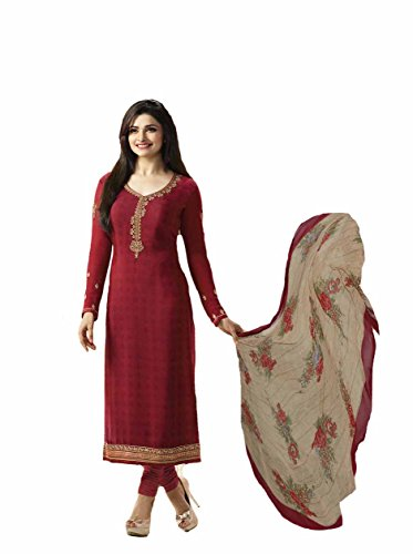 Ready Made New Designer Indian/Pakistani Fashion Salwar Kameez for Women (Red, XX LARGE-46)