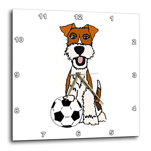 (3dRose All Smiles Art - Pets - Cool Funny Wire Fox Terrier Puppy Dog Playing Soccer Cartoon - 15x15 Wall Clock (DPP_307679_3))