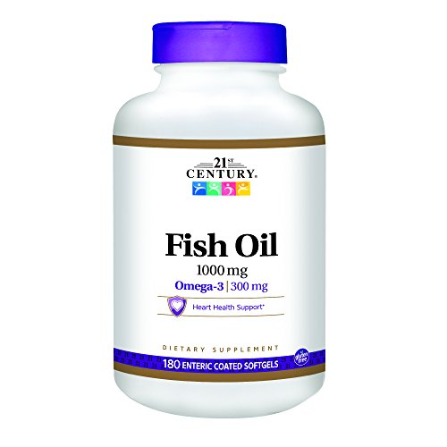 21st Century Fish Oil 1000 mg Enteric Coated Softgels, 180-Count (Pack of 2)