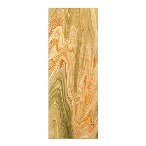 rivacy Window Film No Glue,Marble,Antique Ethnic Ottoman Art Ebru Turkish Marbling Modern Artwork,Orange Olive Green Sand Brown,for Home&Office ()