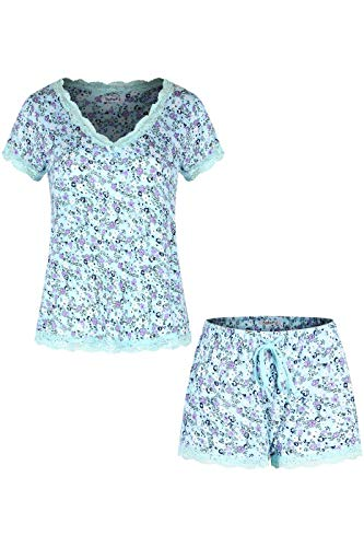 SofiePJ Women's Rayon Spandex Printed V Neck Short Sleepwear Pajama Set with Short Pants and Lace Trim Aqua M ()