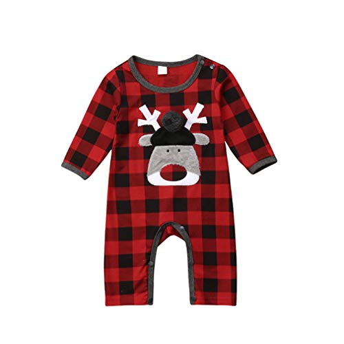 by Boy Girl Long Sleeve Plaid Romper Deer Jumpsuit Sunsuit Outfits Clothes ()