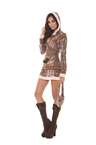 [Sexy Women's Arctic Princess Eskimo Adult Roleplay Costume, Medium, Taupe] (Provocative Costumes)