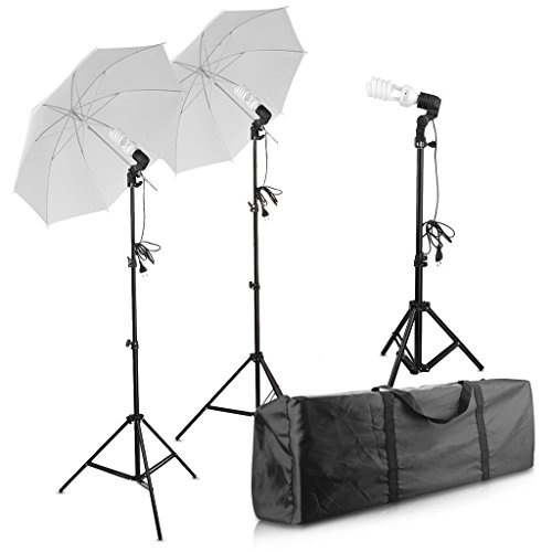 Photography Photo Portrait Studio 600W Day Light Umbrella Continuous Lighting Kit by Excelvan with E27 Light Bulb Holder,80'' Light Stand,3x45W 5500K Bulbs, Portable Carrying Bag by Excelvan