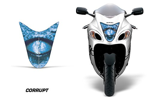AMR Racing Sport Bike Headlight Eye Graphic Decal Cover for Suzuki Hayabusa 1300 08-14 - Corrupt Blue