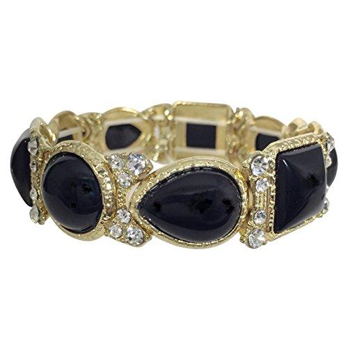 (Gypsy Jewels Dot & Squares Rhinestone Gold Tone Statement Stretch Bracelet - Assorted Colors (Black))