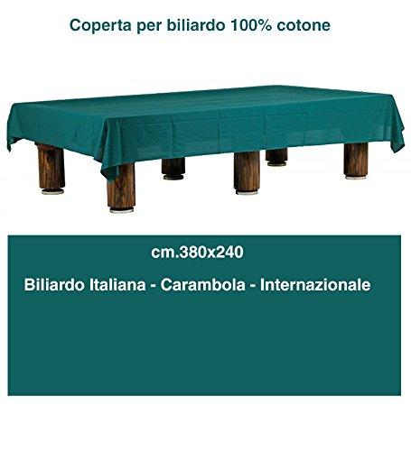 grandeemporio Biliardo Coperta in tessuto 100% cotone verde orlata. Tavoli biliardo da italiana, internazionale, carambola cm. 380x240