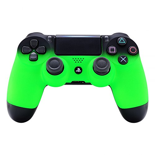 eXtremeRate Shadow Soft Touch Grip Green Front Housing Shell Faceplate for Playstation 4 PS4 Slim PS4 Pro Controller (JDM-040)