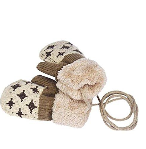 Auxma Por 0-4 años de edad,Guantes calientes de los niños muchachas de los bebés del niño de guantes de punto Guantes Leaf Beige