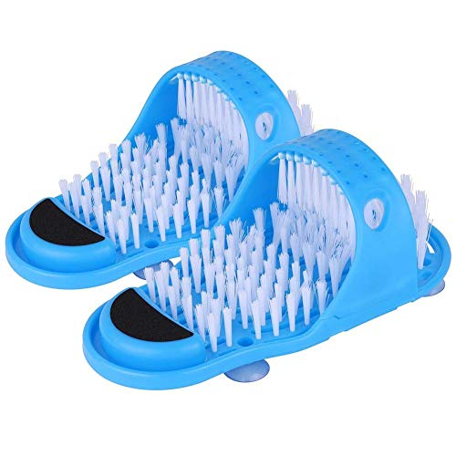suitus Bathroom Blue Color Slippers with Cleaner Brush for Shower Spa Massage Exfoliation Removal