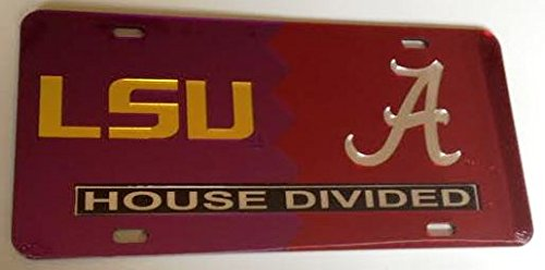LSU Tigers - Alabama Crimson Tide - House Divided Mirrored Car Tag License Plate