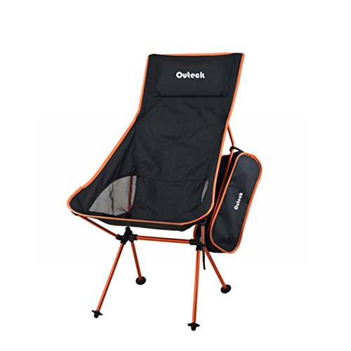 Price comparison product image Folding Chair, HOOHI Ultra-Light Portable Foldable Recliner Chair, 150KG(Max Support) ALuminium Alloy Camping Chair for Indoor Outdoor Fishing Hiking with Carry Storage Bag (Orange)