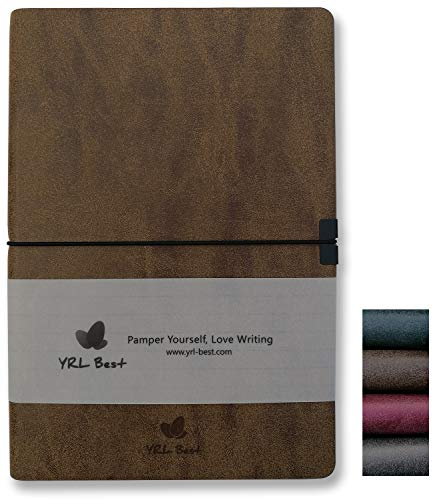 Leather Expandable Executive Roller - YRL Best | Layflat A5 Executive Writing Journal/Notebook, Wide Ruled/Lined, Medium Size, 5.8x8.3