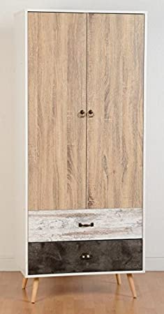 Nordica 2 Door 2 Drawer Wardrobe in White & Distressed Effect from Modern Living