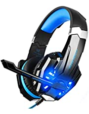 BlueFire 3.5mm Gaming Headset for Playstation 4 PS4 Xbox One Games Tablet PC, Over Ear Headphone with Mic LED Light for Laptop Mac Nintendo Switch Controller