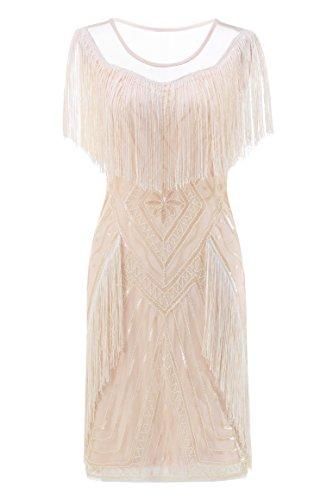 Fringe Dress Shift - Metme Women's 1920s Gatsby Flapper Dress Retro Theme Fringe Dresses Wedding Evening Party Apricot