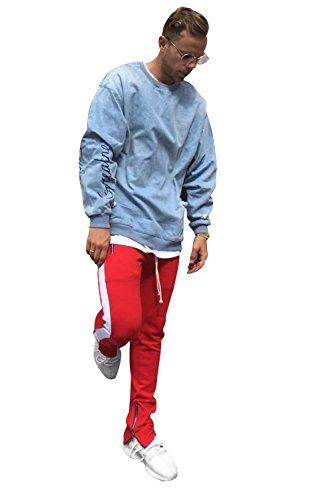 (SENSERISE Mens Stretch Hip Hop Ankle Zipper Jogger Pants Side Stripe Track Pants(Red/White,S))