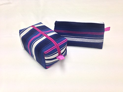 Denim Stripes Toiletry/Makeup Bag Set by Candace Sormani