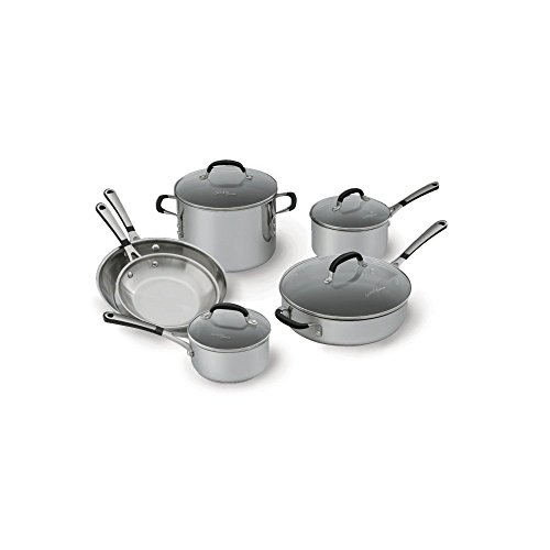 Simply Calphalon 1757697 Stainless Steel 10 piece Cookware Set, Silver (Select Pot Sauce Steel Stainless)