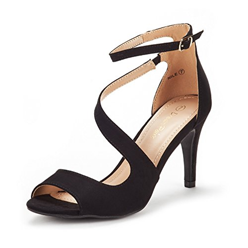 DREAM PAIRS Women's NILE Black Fashion Stilettos Open Toe Pump Heel Sandals Size 7.5 B(M) US