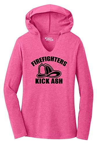 Ladies Hoodie Shirt Firefighters Kick Ash Fuchsia Frost 2XL