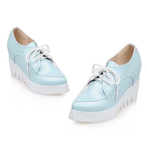 AgooLar Damen Spitz Zehe Hoher Absatz Weiches Material Rein Schnüren Pumps Schuhe Blau