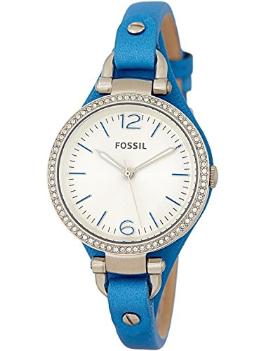 Fossil Blue Silver Dial - Fossil Georgia Silver Dial Blue Leather Strap Ladies Watch ES3470