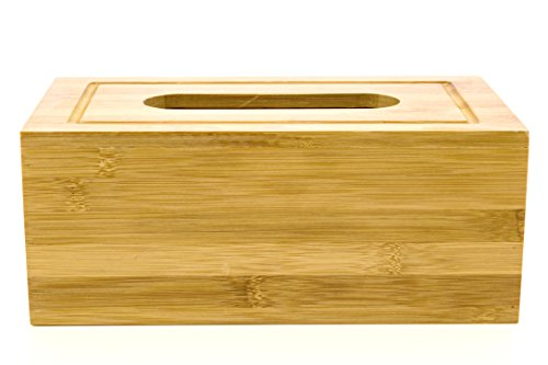 Intriom Bamboo Tissue Cover For Bathroom Dining Table Bedroom Office, Fits kleenex 160 count (Rectangle)
