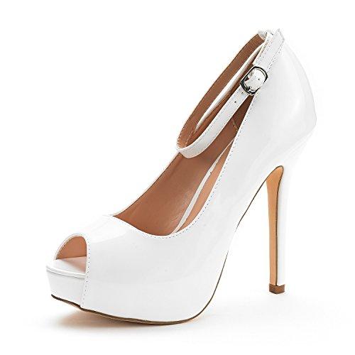 (DREAM PAIRS Women's Swan-10 White Pat High Heel Plaform Dress Pump Shoes - 10 M US)