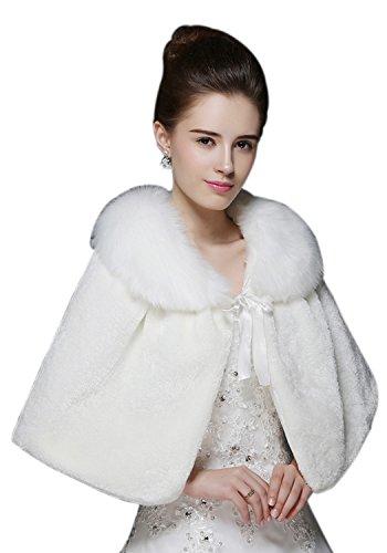 [リッチココ]RICHCOCO レディースボレロ ショール ドレス 成人式 ストール ケープ 結婚式 着物 和装 成人フェイクファー ファッション パーティー 可愛い ソフトな肌触り ホウイト