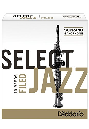 Rico Select Jazz Soprano Sax Reeds, Filed, Strength 4 Hard, 10-pack
