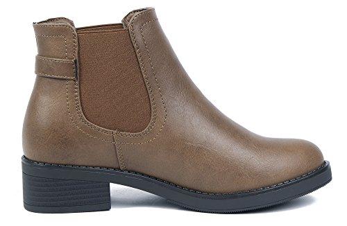 AgeeMi Shoes Mujer Sólido Sintético Tacón Grueso Caña Baja Botas con Hebilla Marr¨®n