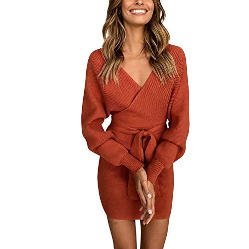 Belted Chunky Belt - Misscat Women's Sexy Deep V Neck Wrap Sweater Batwing Long Sleeve Knit Dress