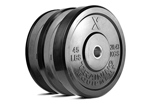 X Training Equipment Premium Black Bumper Plate Solid Rubber with Steel Insert - Great for Crossfit Workouts (Set: 160lb)