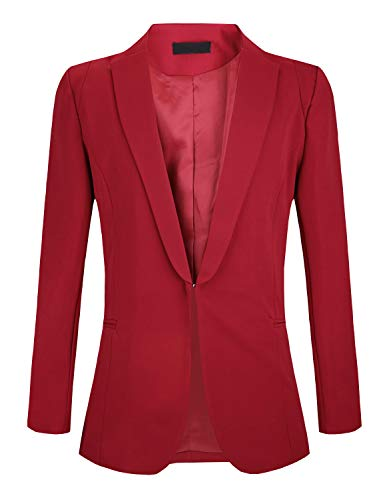(JHVYF Women's Casual Basic Work Jacket Open Front Office Solid Color Blazer Suit Wine Red 10)