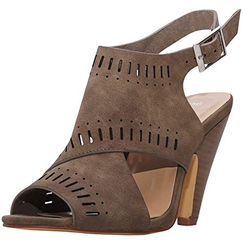 Charles Albert Open Toe Cut Out Booties - Ladies Stacked Heel Laser Cut Boot (6 M US, Taupe)