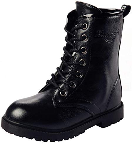 DADAWEN Boy's Girl's Waterproof Outdoor Combat Lace-Up Side Zipper Mid Calf Boots - stylishcombatboots.com