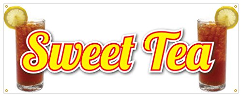 Sweet Tea Banner Sugar Tea Refreshing Ice Cold Concession Stand Sign 18x48 (Refreshing Tea)