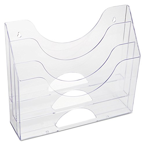 Rubbermaid 96050ROS Three-Pocket File Folder Organizer Plastic 13 x 3 1/2 x 11 1/2 Clear