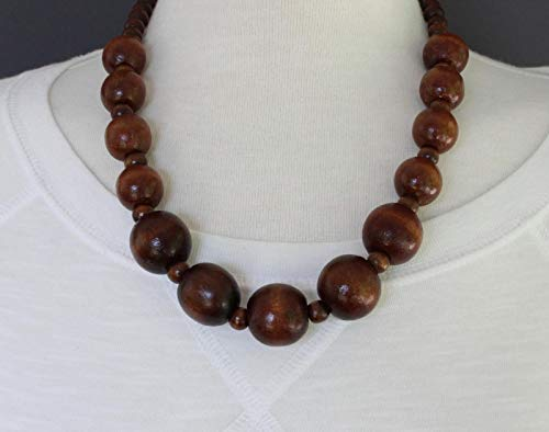 Dark Brown wood necklace bead big chunky bead 21-23 long necklace beaded wooden