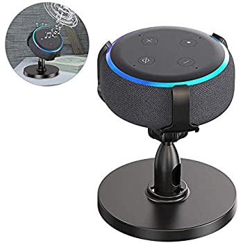 ECOEMO Table Holder for Dot 3rd Generation, 360° Adjustable Stand Bracket Mount for Smart Home Speaker, Improves Sound Visibility and Appearance, Dot Accessories (White) (Black)