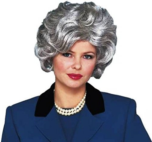 [OvedcRay 1950S 50'S Adult Womens Silver Grey Short Wavy Classy Old Lady Costume Wig] (Deluxe Colonial Peasant Girl Child Costumes)