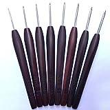 FidgetFidget Crochet Hooks Stainless Steel Wood Handle Redwood Knitting Needles 上海钩针檀木柄刘长安 22 pcs Set