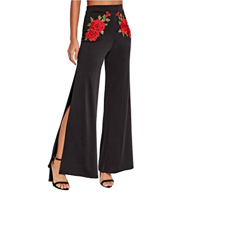 Cheap DMZing Vintage Chic High Waist Pants With Flora Embroidery Wide Leg Palazzo Trousers featuring With Side Split hot sale