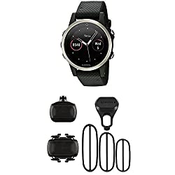 Garmin Fenix 5S - Silver with Black Band and HRM-Tri Heart Rate Monitor
