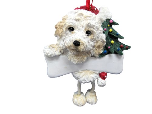 Cockapoo Ornament with Unique ''Dangling Legs'' Hand Painted and Easily Personalized Christmas Ornament by E&S Pets