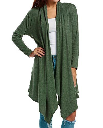 Zeagoo Womens Long Sleeve Open Front Long Maxi Cardigan Waterfall Asymmetric Draped Duster Coat