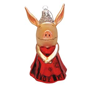 Kurt Adler OL4801 Glass Olivia the Pig Ornament, 5-Inch