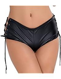 Women's Patent Leather Lace Up Performance Mini Shorts Hot Pants Clubwear