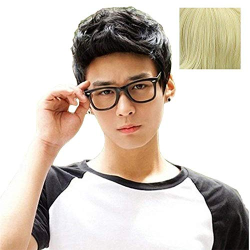 BERON New Fashion Cool Men Boys Short Synthetic Wig for Cosplay Party Photo Come with Wig Cap (Light Blonde)